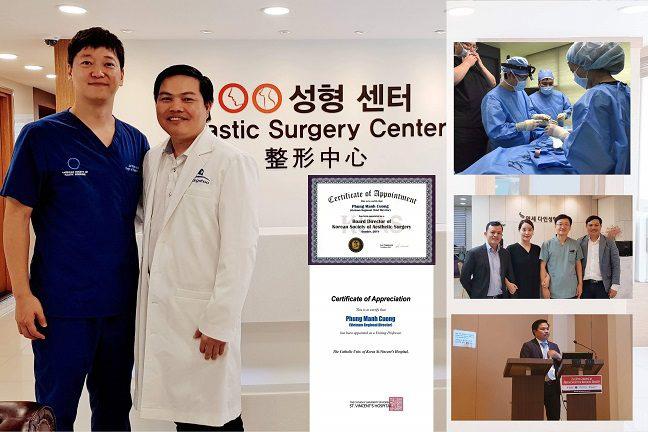 Bác sĩ Phùng Mạnh Cường cùng đồng nghiệp bên Hàn Quốc