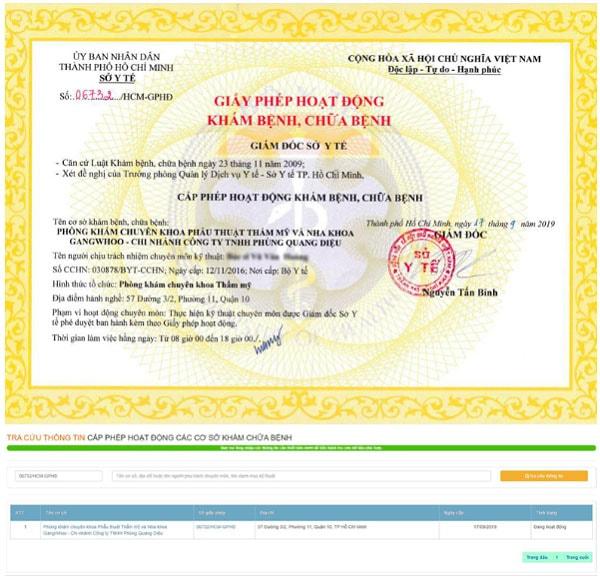 TMV Gangwhoo được Giám đốc Sở Y tế TP.HCM cấp giấy phép hoạt động khám bệnh, chữa bệnh Số 06732