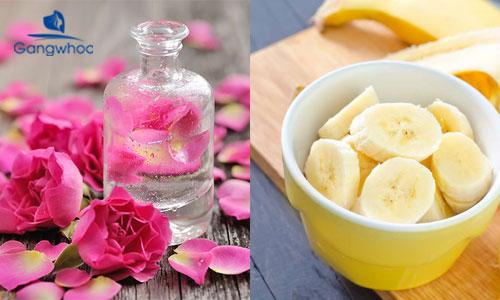 dùng vitamin E đắp mặt với chuối và nước hoa hồng
