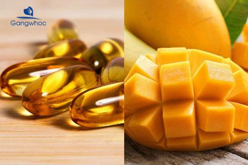 đắp mặt nạ vitamin E và xoài giúp da mịn màng