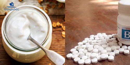 cách dùng vitamin E đắp mặt với vitamin B1 và sữa chua