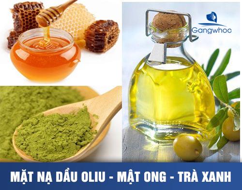 mặt nạ dầu oliu kết hợp cùng mật ong và trà xanh giúp trị nam da