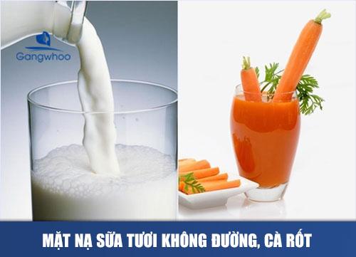 Mặt nạ sữa tươi không đường, cà rốt và cam