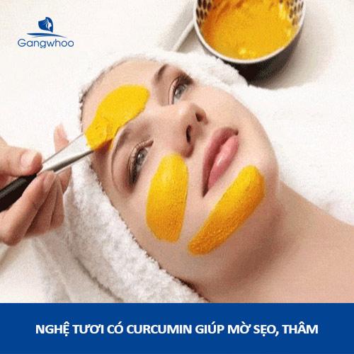 nghệ tươi chứa curcumin có khả năng chống oxy hóa và mờ thâm, sẹo (dùng nghệ trị sẹo đúng cách)